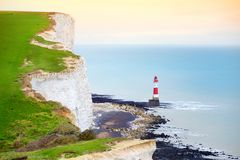 Beautiful white chalk cliffs of the Seven Sisters at Birling Gap coastline, Eastbourne, East Sussex, UK Stock Photography