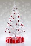 Beautiful white Christmas tree Stock Photography