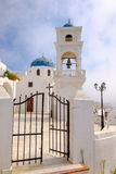 Beautiful white church with blue domes on Santorini Stock Images