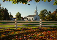 Beautiful white church in Vermont. White church and steeple in the Fall in Vermont Stock Photo