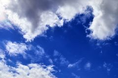 Beautiful white cloud formations in a deep blue sky on a sunny day. Seen in germany royalty free stock photo