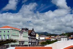 Beautiful white clouds against the blue sky. The beautiful city of Ponta Delgada on the island of San Miguel, Azores, Portugal. Travel to the Azores royalty free stock photos