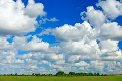 Beautiful white clouds on the blue sky above the green savannah in Africa. Wet rainy season in Moremi, Okavango delta, Botswana. stock photography