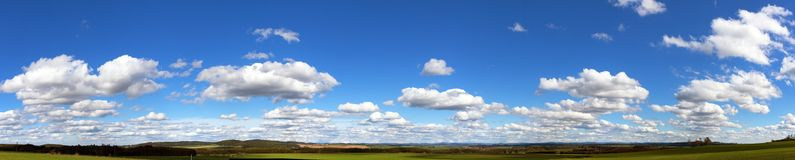 Beautiful clouds on sky, panoramic view royalty free stock photography