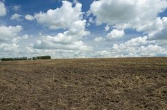 Beautiful white clouds over the plowed field royalty free stock photos