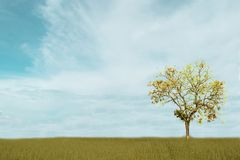 Beautiful white Cloudy and blue sky over tree isolated on green field background. stock photo