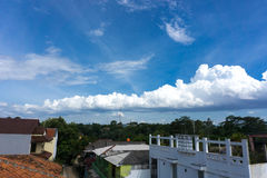 A beautiful white cloudy sky photo taken in Jakarta Indonesia. Java Stock Photos