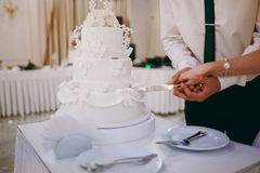 Beautiful white and colored wedding cake Stock Photos