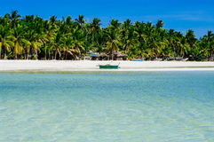 Beautiful white coral sand beach with palms and cottages, turquoise blue ocean Stock Photos