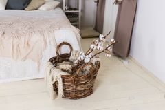 Beautiful white cotton flowers lie in a wooden basket near the bed. Decor Royalty Free Stock Image