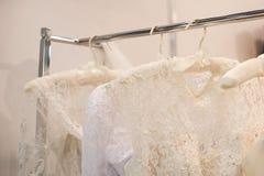 Beautiful white cream wedding dresses made of silk chiffon Stock Photos