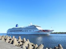 P&O CRUISES ship AURORA coming in  Klaipeda town, Lithuania Royalty Free Stock Photo