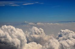 white cumulus clouds nearer view from aircraft Royalty Free Stock Images