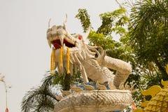 Beautiful white dragon statue at Wat Mai Kham Wan temple, Phichi. T, Thailand Royalty Free Stock Photo
