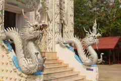 Beautiful white dragon statue at Wat Mai Kham Wan temple, Phichi. T, Thailand Stock Photography