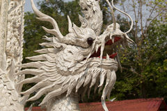 Beautiful white dragon statue at Wat Mai Kham Wan temple, Phichi Royalty Free Stock Images