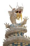 Beautiful white dragon statue on white background.  Stock Photos