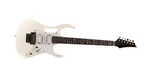 Beautiful white electric guitar. Stock Photo