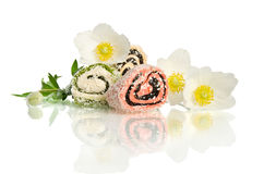 Beautiful white flower and candy Stock Photo