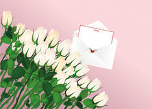Beautiful white flowers. Roses with envelope and blank. Empty Royalty Free Stock Photography
