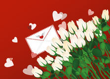 Beautiful  white flowers. Roses with envelope and hearts. Empty Royalty Free Stock Image