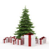Beautiful white gift boxes with Christmas tree Royalty Free Stock Image