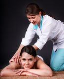 Beautiful white girl having Thai massage. Stock Image