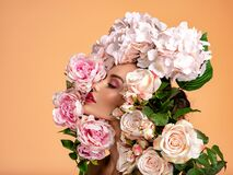 Free Beautiful White Girl With Flowers Around Face, Profile Portrait.  Attractive Girl With Big Many Flowers Near Face. Art Portrait, Stock Photography - 188607152
