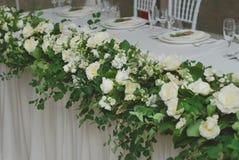 Beautiful White and Green Flower Decoration Arrangement on Wedding Table. Wedding Bridal Flower Decoration. Beautiful White and Green Flower Decoration royalty free stock photos