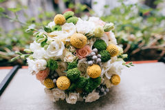 Beautiful white, green, yellow  wedding bouquet Royalty Free Stock Images