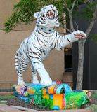 Beautiful White Hand Painted Tiger Statue Royalty Free Stock Images