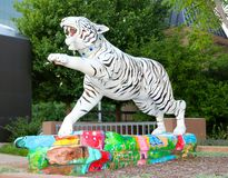 Beautiful White Hand Painted Tiger Statue Stock Images