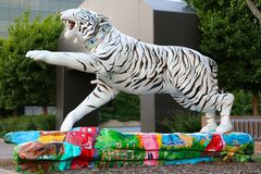 Beautiful White Hand Painted Tiger Statue. A very artistic Hand Painted Tiger Statue, Memphis, Tennessee royalty free stock images
