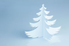 Beautiful white handmade Christmas tree - horizontal Royalty Free Stock Images