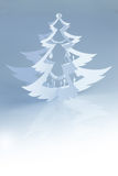 Beautiful white handmade christmas tree silhouette - vertical Stock Photos