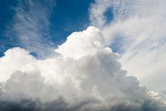 Beautiful white high gray clouds stormy clouds magnificent on a blue sky summer day landscape. Beautiful big white high clouds gray storm clouds before the rain Stock Images