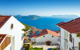 Beautiful white houses with amazing sea view Stock Images