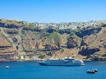 Cruise Ship docked in green harbor royalty free stock images