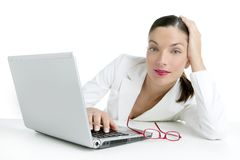 Beautiful white image of businesswoman and laptop royalty free stock image