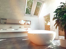 Beautiful White Inspired Lavatory Area. Beautiful White-Inspired House Lavatory Area with Glass Windows Stock Image
