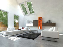 Beautiful White Inspired Living Room Stock Images