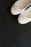 Beautiful white lace bridal shoes Stock Images