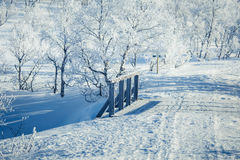 A beautiful white landscape of a snowy winter day with a small wooden foot bridge Stock Image