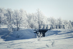 A beautiful white landscape of a snowy winter day with a small wooden foot bridge Royalty Free Stock Photography