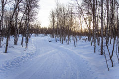 A beautiful white landscape of a snowy winter day with tracks for snowmobile or dog sled Stock Images
