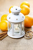 Beautiful white lantern on jute table cloth Royalty Free Stock Photos