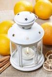 Beautiful white lantern on jute table cloth Stock Photography