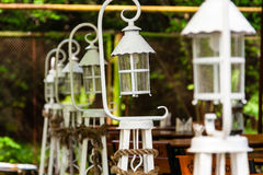 Beautiful white lanterns lined up in a row Royalty Free Stock Photos