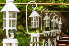 Beautiful white lanterns lined up in a row Stock Photo