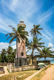 Beautiful white lighthouse in ancient Dutch Galle Fort Royalty Free Stock Images